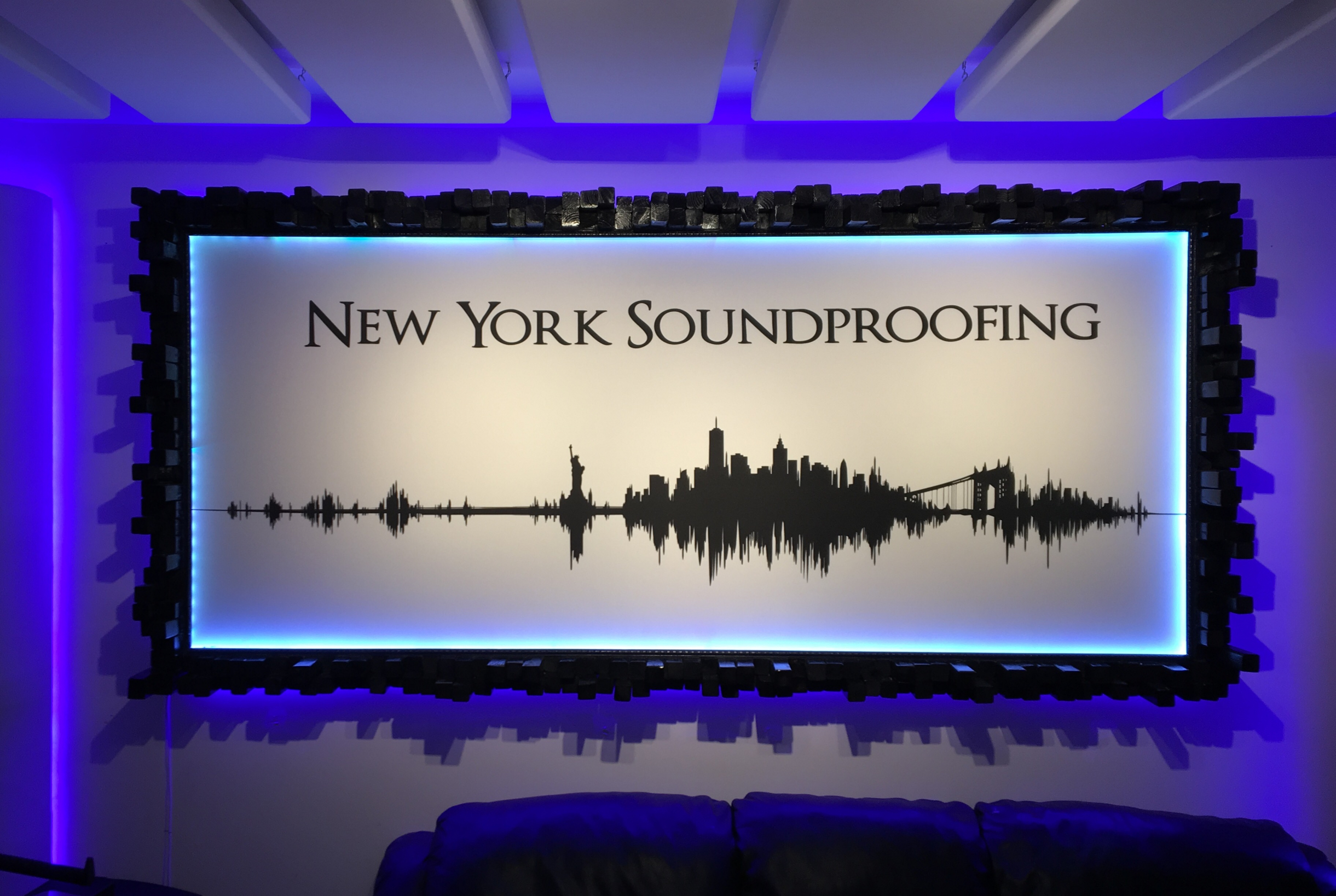 Custom Printed Acoustic Panel with Diffusor Wood Frame & LEDs